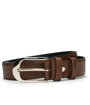 Dress full grain belt on brown vegan leather with an oval buckle silverl... - $58.50