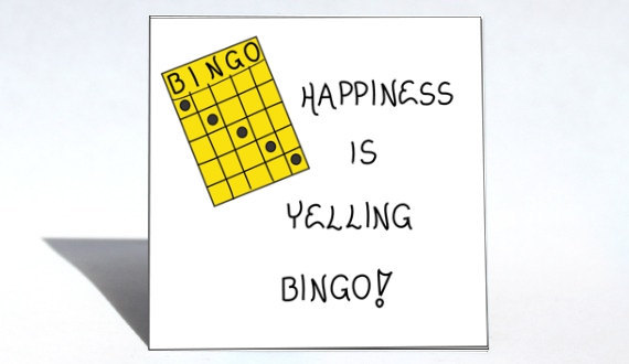 Bingo magnet - Quote, winning game, humor, happiness, Yellow playing card - $3.95