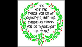 Magnet, Christmas, Inspiring Quote, green wreath, red berries - $3.95