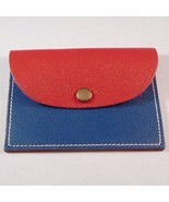 Leather Change Coin Purse Square Shape BLUE RED - $6.99