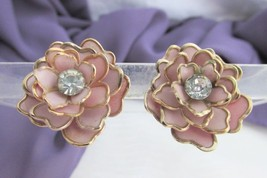 Vintage Poured Glass Look Rose Pink Celluloid Petals Rhinestone Earrings... - $17.82