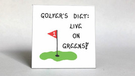 Diet Magnet - Golfer, Humorous golf quote, golfing, putting green, red flag - $3.95