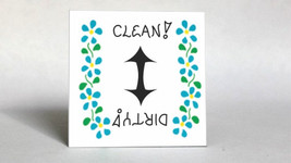 Handcrafted Magnet, Dishwasher Quote, Clean, Dirty Status Arrow, blue flower des - $3.95