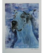 Great Dane Monotype Dog Art Solomon Gentle Giant - $299.00