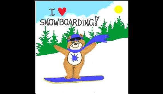 Snowboarding Magnet, winter scene, snow, smling brown bear, blue snowboard, pine - $3.95