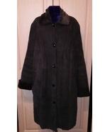 Italian black collared sheepskin coat Shearling overcoat - $80.00