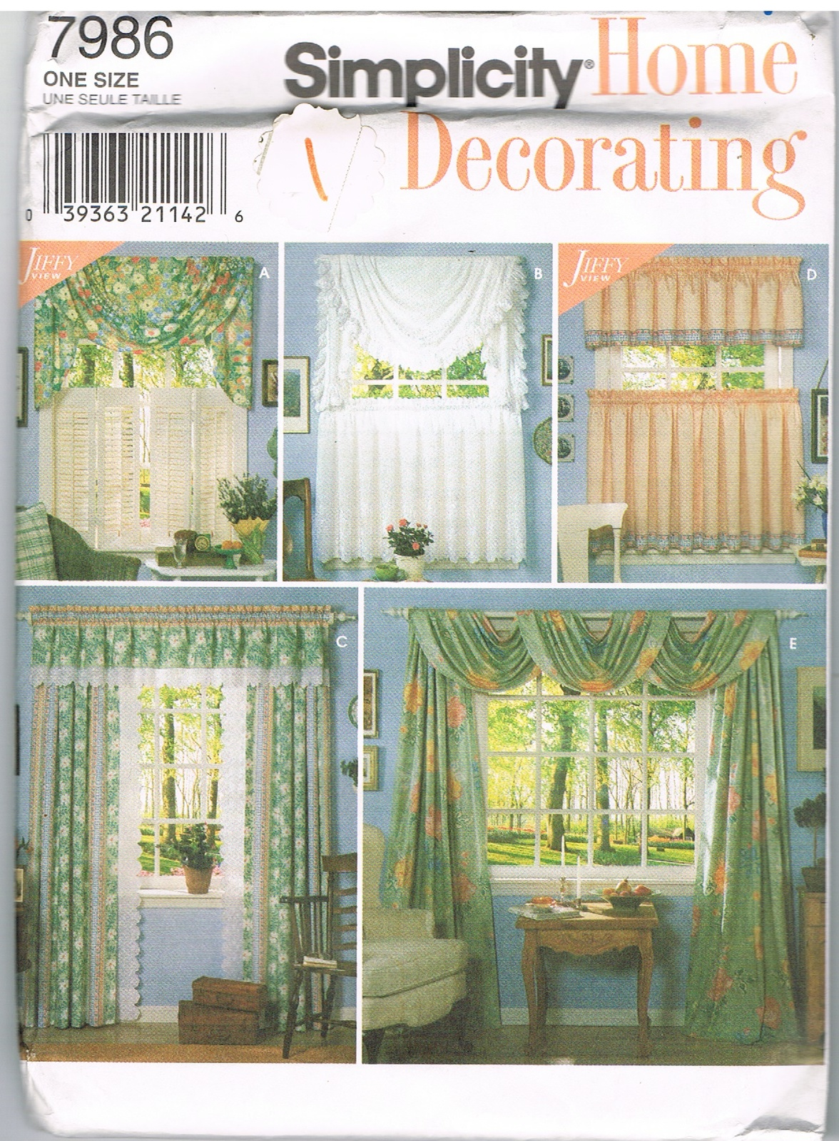 Simplicity Crafts 7986 Home Decorating Curtains And Swags Pattern