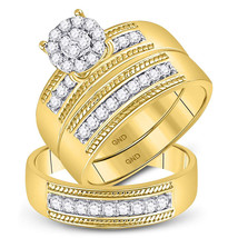 10k Yellow Gold His & Her Round Diamond Cluster Matching Bridal Wedding Ring Set - $1,059.00