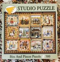 Bits And Pieces Village Welcome Jigsaw Puzzle 500 Folk Art Quilt Complete - $17.72
