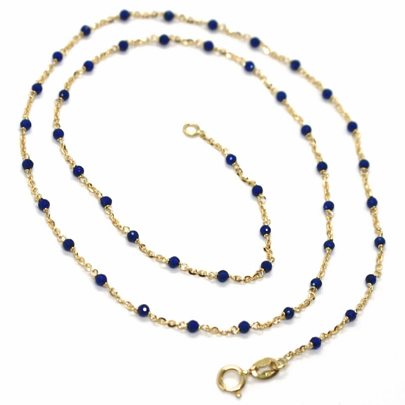 18K YELLOW GOLD NECKLACE, BLUE FACETED CUBIC ZIRCONIA, ROLO CHAIN, 17.7 INCHES