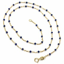 18K YELLOW GOLD NECKLACE, BLUE FACETED CUBIC ZIRCONIA, ROLO CHAIN, 17.7 INCHES image 1