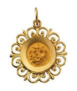 14K Yellow Gold Framed Baptismal Medal - $195.99