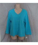Real Comfort by Chadwick's top M blue V neck 3/4 sleeves - $11.71