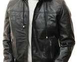 QASTAN's New Detachable Hoodie Men's Black Sheep Nappa Leather Jacket QMJ25 - €147,66 EUR