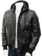 QASTAN's New Detachable Hoodie Men's Black Sheep Nappa Leather Jacket QMJ25 - $137.00