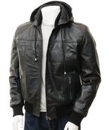 QASTAN's Hoodie Men's Black / Brown Sheep Nappa Leather Jacket QMJ25 - $177.21+