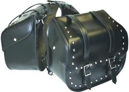 Black Waterproof PVC 2pc Studded Motorcycle Saddle Bag Set Easy Removal - $89.99