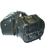 Black Waterproof PVC 2pc Studded Motorcycle Saddle Bag Set Easy Removal - $89.99