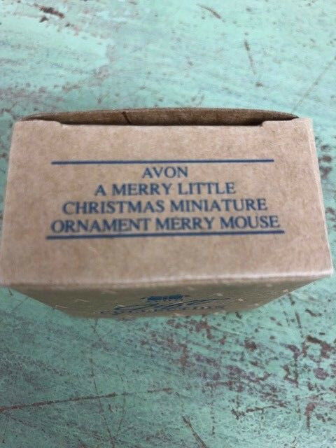 Vintage Avon set of 2 Miniature Merry Mouse Christmas Ornaments