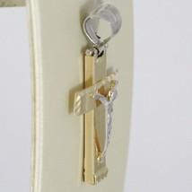 Anhänger Überqueren Gelbgold Weiß 750 18K, mit Christus, Eckig, Made in Italien image 2