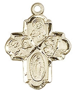 FOUR-WAY MEDAL - 14KT Gold Medal Pendant - NO CHAIN - $299.99