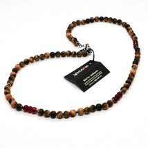 Silver Necklace 925 with Tiger's Eye and Agate Made in Italy by Maschia image 1