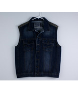 Ring Of Fire Denim Vest Southwestern Motorcycle Style Jean Men's Size Large - $25.73