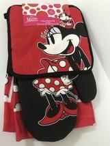 Disney Oven Mitt towel 3 piece Kitchen Set Minnie Mouse Dotty Polka Dot - $15.67