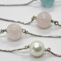 18K WHITE GOLD LARIAT NECKLACE VENETIAN CHAIN AKOYA PEARL, GREEN PINK AQUAMARINE image 4