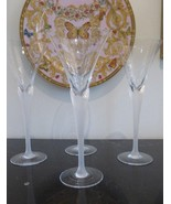 "RARE MIKASA CRYSTAL ""PRISMA"" CLEAR FROST STEM WINE GLASSES 9 3/8"" H SET ... - $89.00"