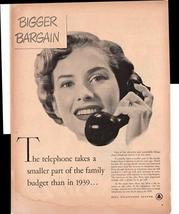 Bell Telephone System Bigger Bargain Family Budget 1950 Antique Advertis... - $3.25
