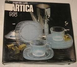 Vtg/New Jogo de Cafe Artica Square Wavy Glass Demitasse Cups & Saucers S... - $18.81