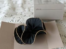 Avon Designer Signed Ruffle Black Floral Elegant Pin Vintage  - $7.75