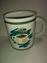Coffee Themed Collectible Mug Steaming Cup and Saucer Green Orange 6 oz Tea - $22.76