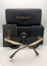 New VERSACE Sunglasses VE 4307 GB1/87 58-17 Black & Gold Frame w/ Grey Lenses