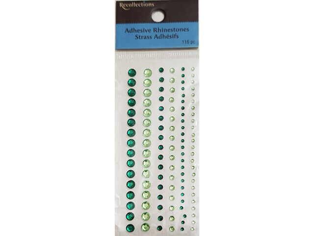 Recollections Green Adhesive Rhinestones, 3 Sizes #174783