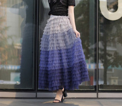 Tiered Tulle Maxi Skirt in Purple Violet Gray Tulle Layered Skirt for Adults  image 2
