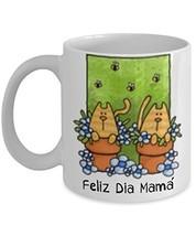 Mother's Day Spanish Language Cats Coffee Mug Gift Feliz Dia Mama - £11.62 GBP