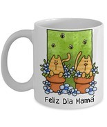 Mother's Day Spanish Language Cats Coffee Mug Gift Feliz Dia Mama - £11.39 GBP