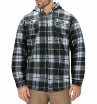 Men's Heavyweight Flannel Zip Up Plaid Sherpa Hoodie Jacket w/ Defects - L