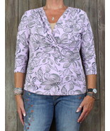 Fresh Produce Blouse L size Purple Pink Floral Womens Sunwashed Top Stre... - $18.81