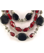 Fair trade necklace glass and stone red and black bead hand crafted - $25.00