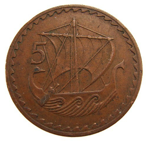 ANCIENT SAIL BOAT Republic of Cyprus 1963 Vintage 5 mils Bronze Coin