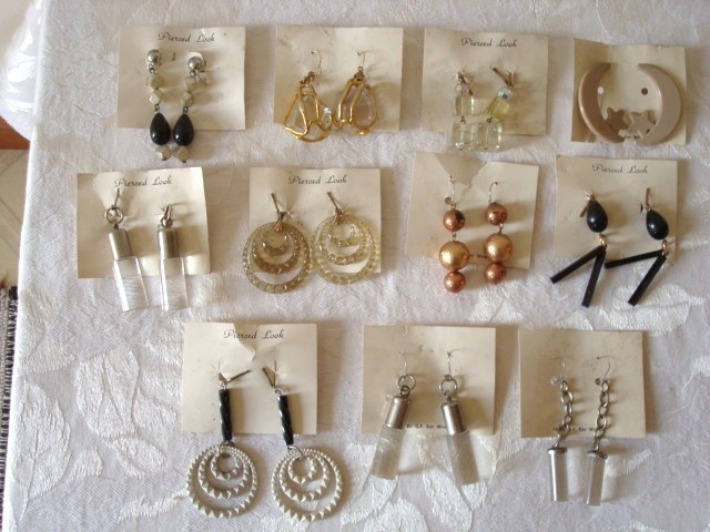 Vintage Dangle Earrings on Original Cards ~ 11 Pairs N.O.S.