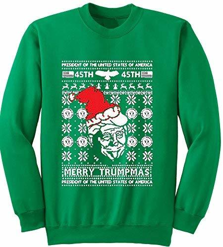 Primary image for Adult Merry Trumpas Crewneck Ugly Christmas Sweater Medium Kelly Green