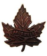 VANCOUVER MAPLE LEAF Canadian Symbol Bronze Metal Charm Pendant Plaque - $9.99
