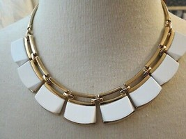 Monet Necklace Gold Plated Collar Necklace Designer White Resin 1980s EU... - $24.74