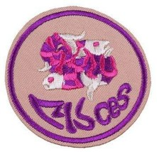 Pisces Color Embroidered Iron-On Patch Zodiac Sign - 3 inch - $4.70