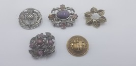 Lot Of 5 Vintage Celtic Pins / Brooches W/ Penannular & Tribal Designs W... - $87.22