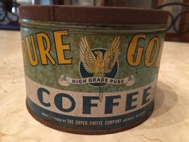 HTF Old Coffee tin PURE GOLD packed Greenville Mississippi Delta Goyer v... - $93.49